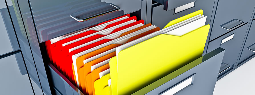 filing cabinet with color-coded folders